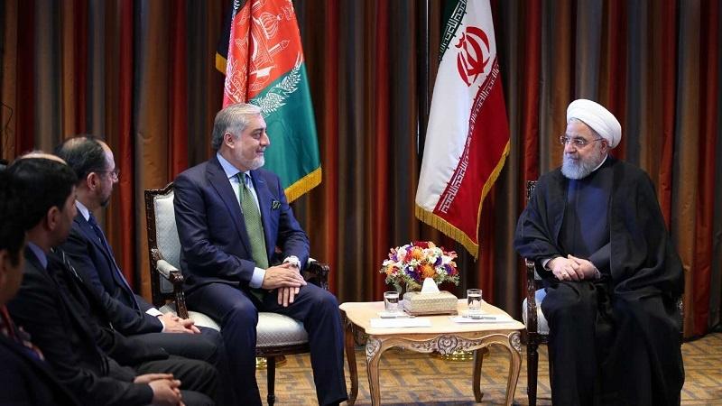 دیدار صمیمی رئیس اجرایی حکومت افغانستان و رئیس جمهور ی اسلامی ایران در نیویورک